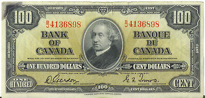 Bank of Canada 1937 $100 Hundred Dollars Gordon-Towers Prefix B/J VF Tears