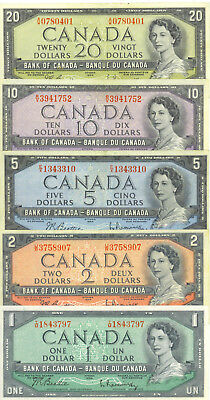 Bank of Canada 1954  Year Type Set of Vintage Notes $1 $2 $5 $10 $20 VF/EF Nice