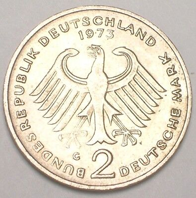 1973 G German Federal Republic 2 Mark Heuss Coin VF+