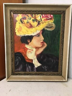 Beautiful Impressionist Portrait Painting Woman In Large Flower Hat Colorful