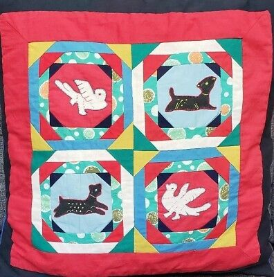 Vintage Folk Art Pieced Throw Pillow Black Cat Dove Patchwork Animal Country 18""