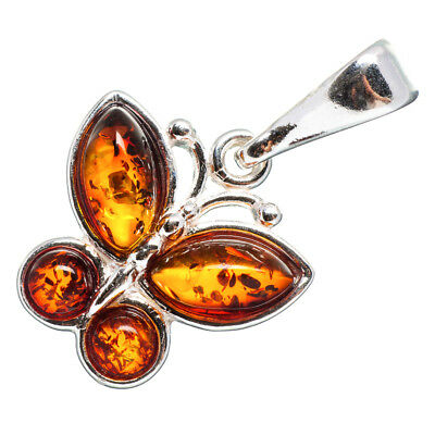 "Baltic Amber Butterfly 925 Sterling Silver Pendant 1 1/8"" Jewelry P664113F"