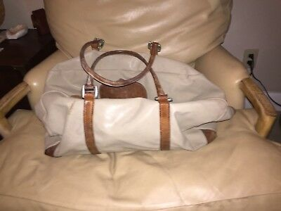 Vintage KING RANCH Tan Nylon Canvas Leather Duffle Bag and Shoulder Strap