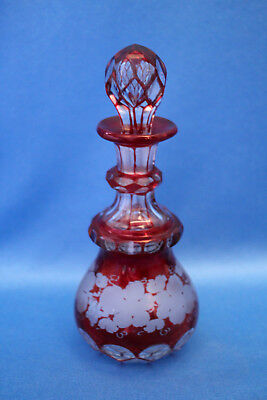 Vtg antique Boston & Sandwich Glass Co. RUBY Stain GRAPES,LEAVES Perfume+Stopper
