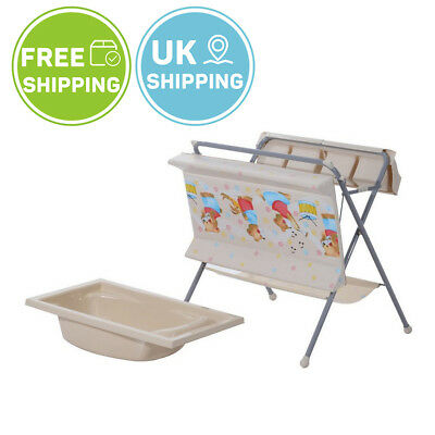 Folding Compact Baby Changing Table Bath Set Storage Unit Padded Diaper Mat Grey
