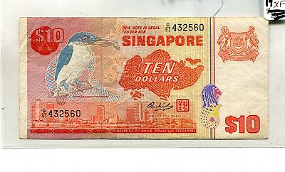 Singapore  1979 $10 Kingfisher Bird Currency Star Note Fine 1154G