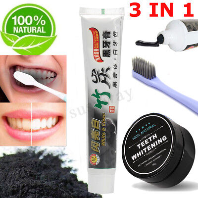 Natural Bamboo Activated Charcoal Teeth Whitening Powder Toothpaste Toothbrush