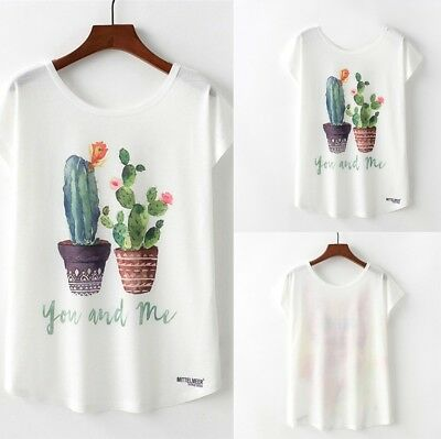 Summer Women's Fashion Cactus Print O-Neck Short Sleeve Loose T-shirt Blouse Top
