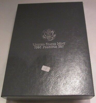 1991 Prestige Proof Set U.S. Mint COA & Box 7 coin Mount Rushmore Silver Dollar