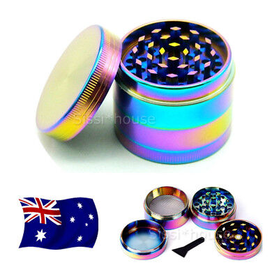 Metal Alloy Rainbow Tobacco Herb Grinder 4 Layers Hand Muller Smoke Crusher OZ