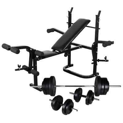 vidaXL Weight Bench with Weight Rack Barbell and Dumbbell Set 60.5kg Fitness
