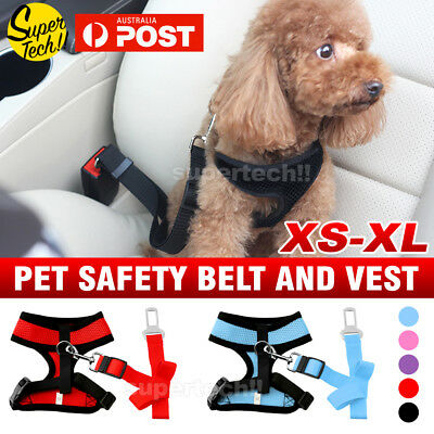 Dog Puppy Soft Mesh Vest Adjustable Harness Braces & Car Seat Belt Leash Lead