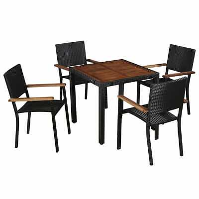 vidaXL Solid Acacia Wood and Poly Rattan Outdoor Dining Set 5 Piece Furniture
