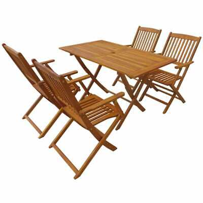 vidaXL Solid Acacia Wood Outdoor Dining Set 5 Piece Garden Folding Table Chair