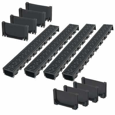 vidaXL Drainage Channels Plastic 4m with Grate Drain Liner Driveway Trench