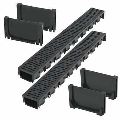 vidaXL Drainage Channels Plastic 2m with Grate Drain Liner Driveway Trench