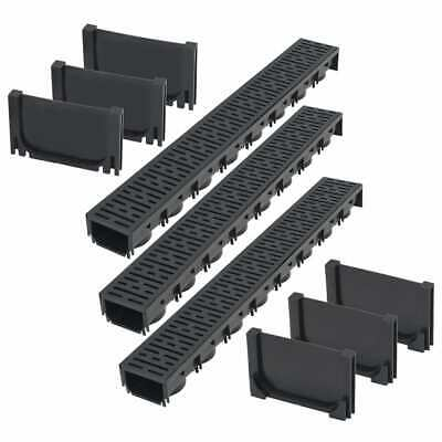 vidaXL Drainage Channels Plastic 3m with Grate Drain Liner Driveway Trench