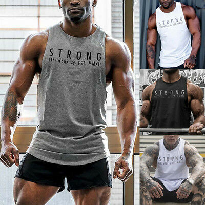 UK Stock Mens Fitness Activewear Tops T-Shirt Gym Bodybuilding Muscle Tee Vests