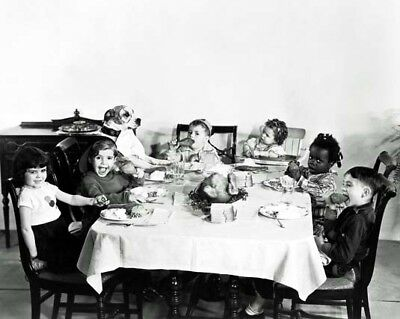 THE LITTLE RASCALS aka OUR GANG 8x10 still eating at table -- a407