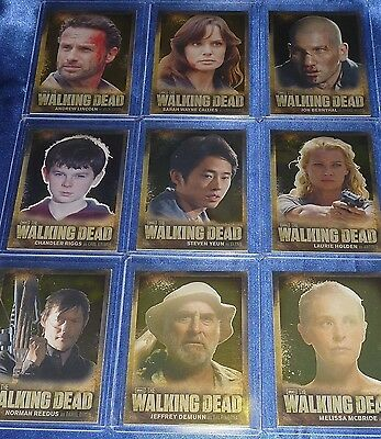 The WALKING DEAD 9 Character Profile Cards Foil Set CB01-CB09 2012 Series 2 Fear