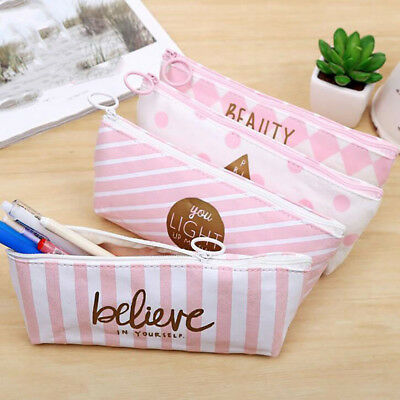 Simple Letter Print Student Stationery Canvas Pencil Case School Pencil Bag BS