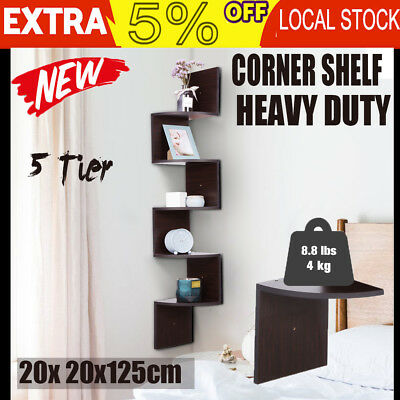 5Tier Corner Wall Mount Shelf Display DVD CD Storage Zig Zag Rack Bathroom Decor
