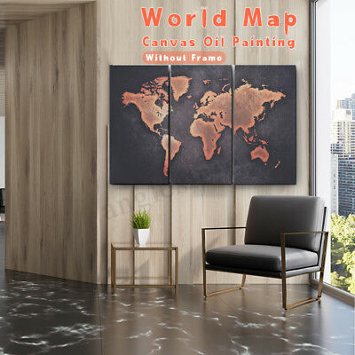 3Pcs Wall Mount Modern Abstract Art Painting World Map Canvas Picture Home Decor