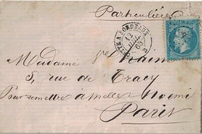 Herault - Ambulant - Cette A Bordeaux - 12-7-1865 - Empire N°22 Losange Cb (P1).