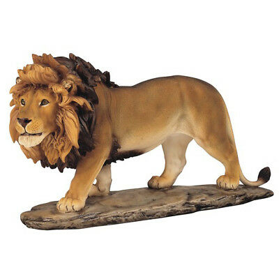 Large Male Lion Figurine Resin 11 Inches Long New In Box!