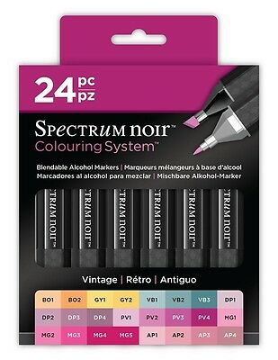 Crafters Companion Spectrum Noir Blendable Alcohol Based 24 Ink Pens Vintage