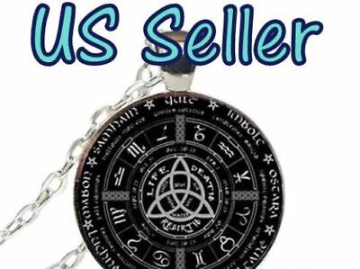 NEW Celtic Wheel of the Year Cabochon silver Glass Chain Pendant Necklace