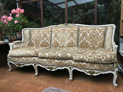 Louis XVI antique style french sofa in gold with feather cushions, 6' x 2.5'