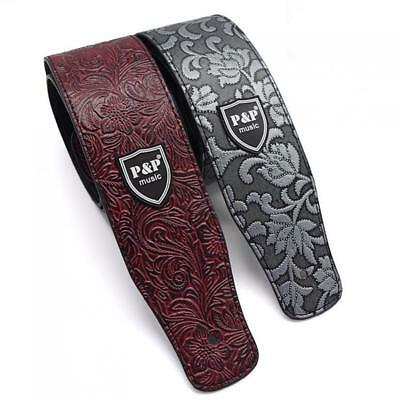 Adjustable PU Leather Embossed Guitar Strap Belt for Guitar Bass Acoustic