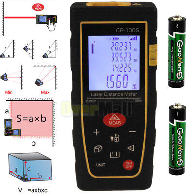 Upgraded 100m/328ft Digital LCD Laser Distance Meter Range Finder Measure W/ BTY