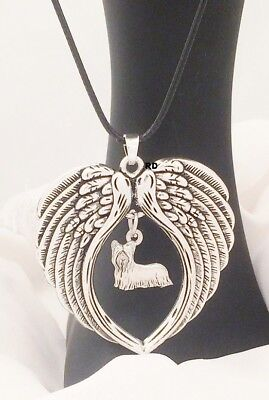 Yorkshire Terrier Yorkie Dog  Lovers Angel Wings Memory Leather Necklace