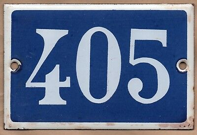 Old blue French house number 405 door gate plate plaque enamel steel metal sign