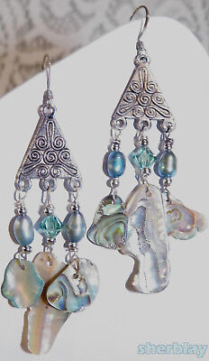 """WONDERFUL VINTAGE SILVER TONE DANGLE EARRINGS WITH ABALONE Shells 3"""""""