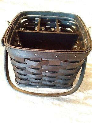 Longaberger Black Utensil Basket Combo w/dividers Great Condition FREE SHIPPING!