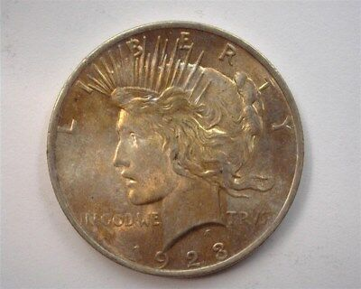 1923 Peace Silver Dollar  Gem+ Uncirculated  Iridescent Toning!
