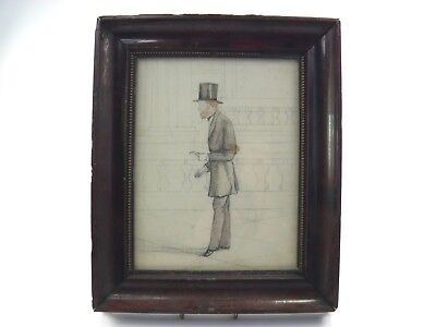 Antique 19th century watercolour painting portrait of a gentleman with top hat