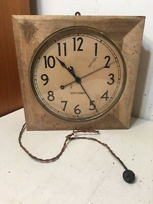 Antique Seth Thomas Square Oak Gallery Industrial Style Electric Clock Project