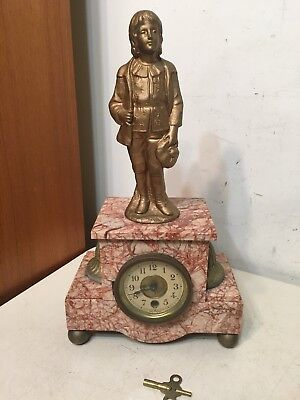 Antique French Rouge Marble Figural Statue Mantle Clock Horlogerie Bethune