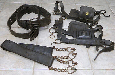 Antique Leather/Hand Forged Iron Horse Tack/Rings/Hooks/Buckles 1800's Primitive
