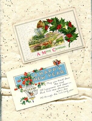 4 antique vintage postcards 1911 christmas embossed bucolic 1900s new years