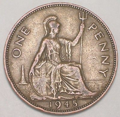 1945 UK Great Britain British One 1 Penny King George VI Coin VF+