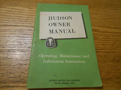 1952 hudson owner manual w  foldout wiring diagrams, chassis & body lube  charts