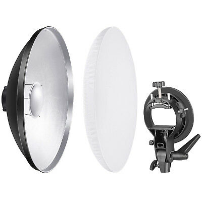 Neewer Beauty Dish Reflector with Diffuser and S-Type Flash Bracket Bowens Mount