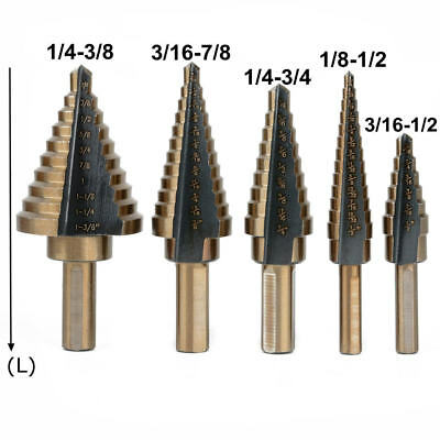 5pcs HSS Large Cobalt Coated Hole Cone Step Drill Bits Set Tool Hole Cutter NEW