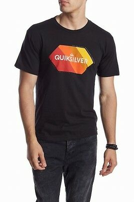 Quiksilver NEW Black Mens Size Large L Regular-Fit Graphic Tee T-Shirt $22 #139