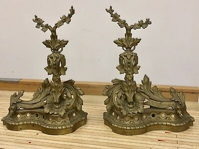 Ornate Antique French Style Brass Or Gilt Bronze Andirons STUNNING